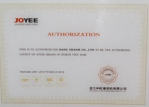 Đăng Thành đã được nhà SX máy may CN lớn hàng đầu của TQ chọn làm nhà phân phối độc quyền máy JOYEE tại VN